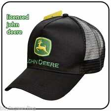 UK SELLER BRAND NEW GENUINE JOHN DEERE BLACK TRUCKER MESH CAP TRACTOR HAT