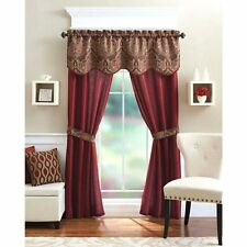 5-Piece Curtain Panel Set Elegant Red Curtains Home Living Room/Bedroom/Kitchen