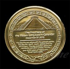 1pcs Mayan Aztec Calendar Souvenir Gold Plated Commemorative Coin Collection