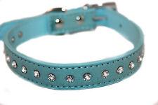 Halsband Hund Hundehalsband blau Strasssteine Glitzer Kunstleder M L XL 31-40 cm