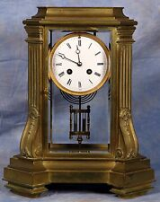 Large French Tiffany Bronze Glass Crystal Regulator Clock 19th C by Japy Freres
