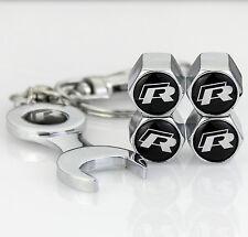 4pcs Auto Car Reifen Ventilkappen + Wrench schlüsselanhänger für R R-line Racing