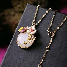 Collier Pendantif Email Fleur Blanc Libellule Coccinelle Beige Original L3