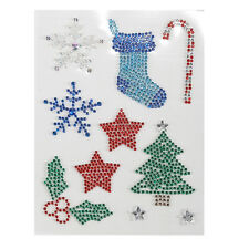 Pack of 10 Assorted Christmas Self Adhesive Gem Stickers