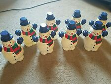 8 Lighted Snowman Lawn Pathway Driveway Yard Christmas Light Covers Blow Mold