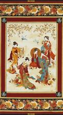 Kyoto Geisha Asian Japanese Cranes Timeless Treasures Metallic Fabric Panel