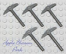 NEW Lego Lot/5 Minifig GRAY PICKAXE Firefighter Fire Pick Ax Castle Dwarf Weapon