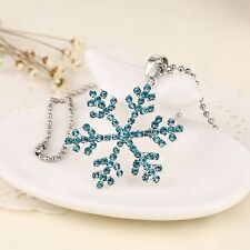 Frozen Elsa Rhinestone Aquamarine Snowflake Pendant Necklace Jewelry, Adult/kids