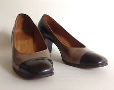 Bally Bellezza Brown & Taupe All Leather Mid Heel Court Shoe UK 3.5 E EU 36.5 E