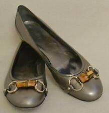 Gucci Silver Leather Ballet Flats - Horsebit with Bamboo Size 9 Retail $460