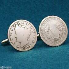 """Antique American Liberty Head """"V"""" Nickel Coin Cufflinks  (Heads & Tails)"""