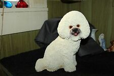 """Vintage Ceramic  Handcrafted Sitting White Dog   Made in China 10"""" Tall  Bichon"""
