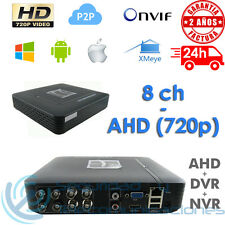 GRABADOR VIDEO RED TRIBRIDO 8 CANALES AHD DVR NVR IP ONVIF 1080p 720p H264 P2P