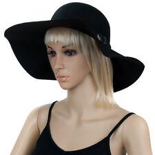 Aerusi Vintage Women Wool Floppy Wide Brim Felt Bowler Winter Hat Lady Cloche