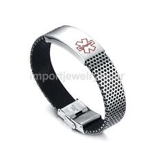 Cool Men's Engraving Emergency Alert Medical ID Stainless Steel Bangle Jewelry