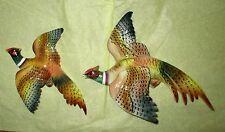 Vintage Lefton China Ceramic Ring Neck Pheasant Wall Hangings Pair