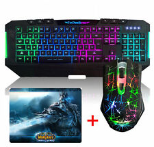 Ajazz Rainbow Illuminated Backlit Gaming Keyboard +Dark Knight Mouse + Mouse Pad