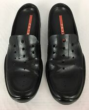 Women's PRADA Black Leather Slip On Loafer Driving Shoes 0129 Size 38 1/2 - US 8