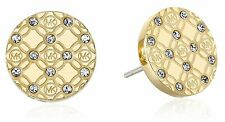 Michael Kors MKJ4276 Women Monogram Stud Earrings Gold Tone With Glitz