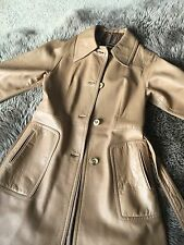 Vintage Camel Beige  Leather Jacket Coat Sz M 8 Valentino style