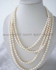 New SUPER LONG AAA++100 INCH WHITE FRESHWATER REAL PEARL NECKLACE 7-8MM