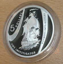 AUSTRALIA 2002 SILVER PROOF 1OZ $5 VOYAGES INTO HISTORY - HMS INVESTIGATOR