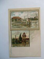 Ansichtskarte Konstanz um 1900 Künstlerkarte CM Hafenpartie Rheinthorthurm