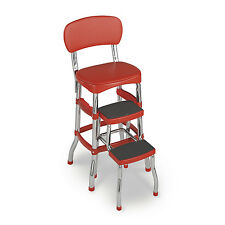 Retro Kitchen Counter Chair Flip Up Step Stool Classic Red Vinyl Padded Bar Seat