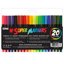 Super Markers 20 Color Premium Fabric & T-Shirt Marker Set Fine tip Bullet Point