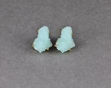 aqua earrings faux druzy post stud earrings big chunky gold faux druzy drusy