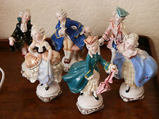 6 Vintage Italian / Italy Porcelain Figures - Dancers in Classical Costumes