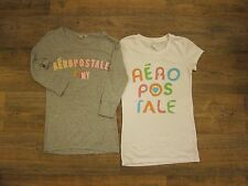 Aeropostale Lot of 2 Two Cap and 3/4 Sleeve White Gray Grey Tee Shirts SP M