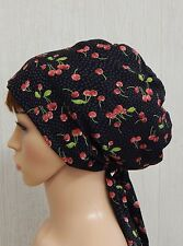 Summer head scarf retro cherry berry head covering tichel head snood hair bonnet