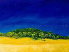 OIL PAINTING FOREST HILL BLUE GREEN YELLOW PHOTO ART PRINT POSTER BMP1035A