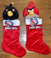 2 Angry Birds Pig, Red Bird & Black Bomb Plush Christmas Holiday Stockings 17""