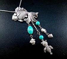 Miao fancy turquoise gold fish necklace silver accent prosperity Feng shui