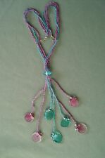 "24"" Colorful Turquoise Lavender Tiny Bead Necklace 3 & 7 Strand Glass Silver"