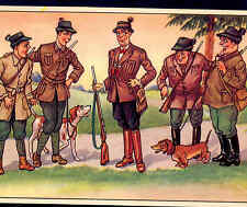 HUNTERS MAKE FUN OF MAN IN FANCY OUTFIT....BUT NO DOG,DACHSHUND,POINTER,POSTCARD