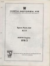 HIRTH EL 23 SNOWMOBILE & VEHICLE ENGINE MODEL 81R2 SPARE PARTS MANUAL (645)