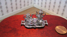 Dollhouse Miniature  Furniture ~ Five Piece Coffee and Tea Set ~ Silver ~