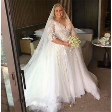 Plus Size Wedding Dress Applique Tulle Bridal Gown Custom Size 18 20 22 24 26 +