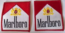 Marlboro Cloth Badge Sew On Patch x 2 Formula 1 Rally Stratos McLaren 8.5 x 7.5