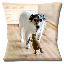 "NEW JACK RUSSELL WHITE BROWN  BLACK CARRYING RABBIT TOY 16"" Pillow Cushion Cover"