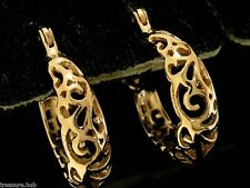 E022-  NICE 9ct SOLID ROSE Gold Filigree Hoop Earrings Genuine Real Gold