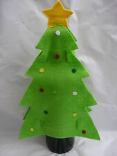 3 x green christmas tree felt wine  bottle size small gift bag/wrapping