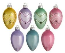 "10 EASTER TREE EGG ORNAMENTS unbreakable plastic 2.5"" plain & glitter trim"