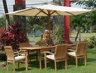 Wave A-Grade Teak 7pc Dining 94 Rectangle Table 6 Stacking Arm Chair Set Outdoor