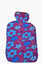 Large Quality Hot Water Bottle 2 Litre with Pretty Patterned Soft Fleece Covers