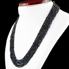 251.50 CTS NATURAL 5 STRAND RICH BLUE TANZANITE ROUND FACETED BEADS NECKLACE
