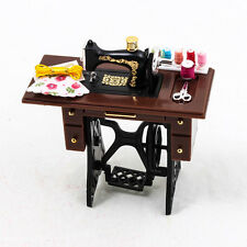 1PCS x Vintage Sewing Machine Table Threads Set 1:12 Miniature Dollhouse A1489